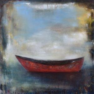36x36 Red Canoe 2 - E. Edmeades