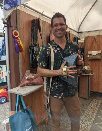 Andres Arango, Fiber/Leather, Booth 159